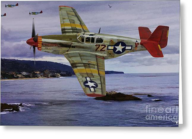 World War 2 Airmen Greeting Cards - Red Tail Wings over Italy Greeting Card by Tommy Anderson