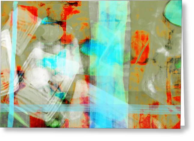 Computer Art And Digital Art Greeting Cards - Red Teal Abstract Greeting Card by Susan Stone