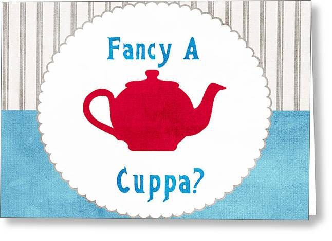 Striped Greeting Cards - Red Teapot Greeting Card by Linda Woods