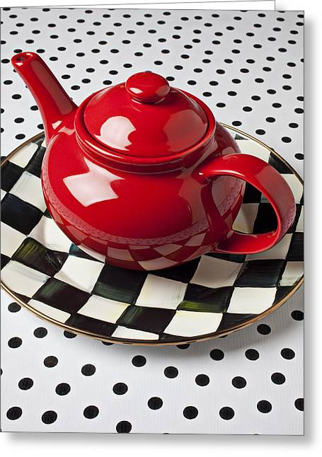 Checkerboard Greeting Cards - Red teapot on checkerboard plate Greeting Card by Garry Gay