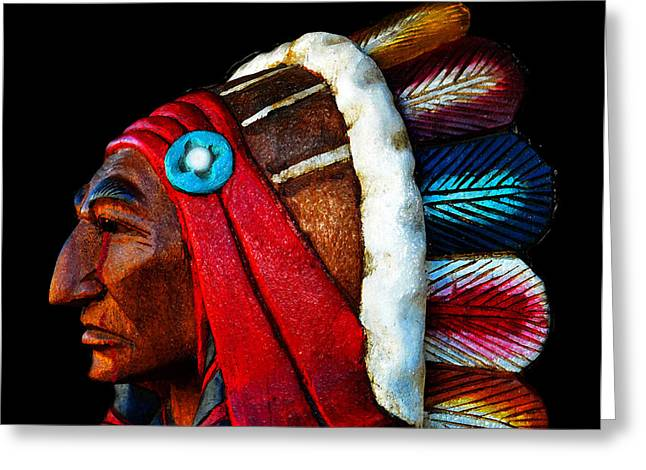 Colorful Indian Chief Greeting Cards - Red Tears Greeting Card by David Lee Thompson