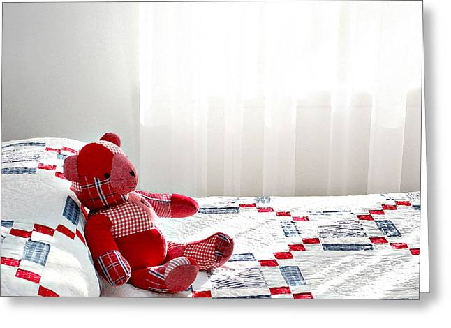 Bedspread Greeting Cards - Red Teddy Bear Greeting Card by Art Block Collections