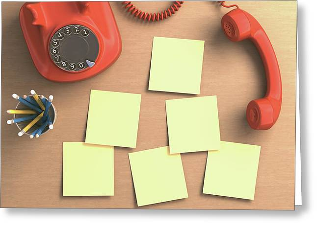 Red Telephone And Sticky Notes Greeting Card by Ktsdesign