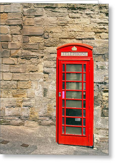 Historic England Greeting Cards - Red Telephone Booth Greeting Card by Nomad Art And  Design