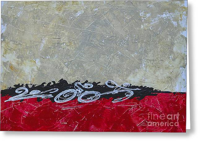 Ironman Paintings Greeting Cards - Red Texturized Triathlon Sequence Greeting Card by Alejandro Maldonado
