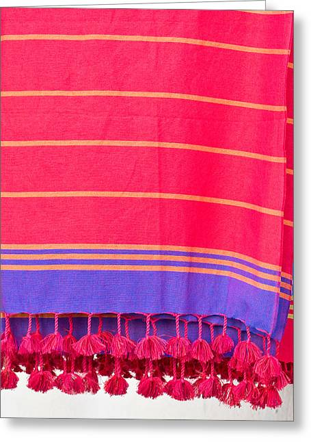 Striped Scarf Greeting Cards - Red throws Greeting Card by Tom Gowanlock