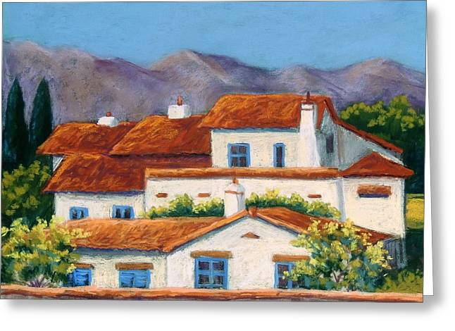 Adobe Pastels Greeting Cards - Red Tile Roofs Greeting Card by Candy Mayer