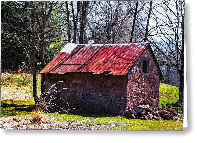Tin Roof Digital Art Greeting Cards - Red Tin Roof Greeting Card by Bill Cannon