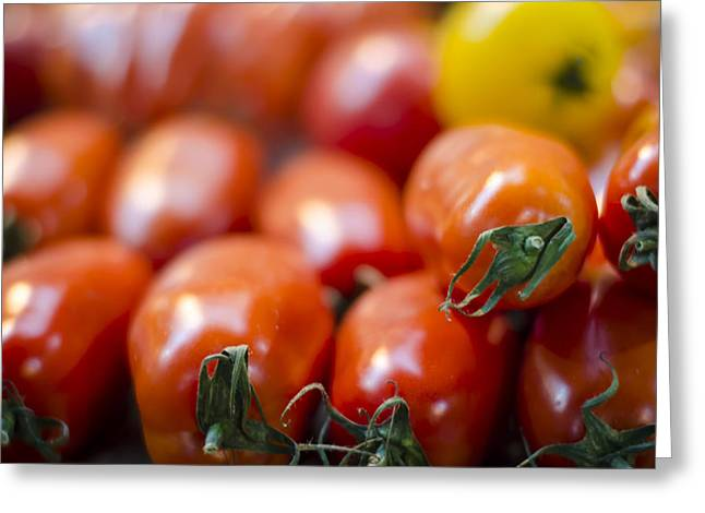 Red Tomatoes at the Market Greeting Card by Heather Applegate