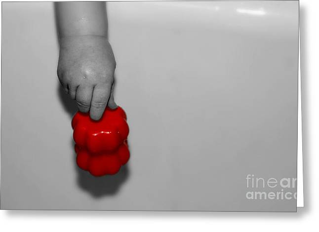 Innocence Baby. Simplicity Greeting Cards - Red Toy Greeting Card by Patricia Trudell