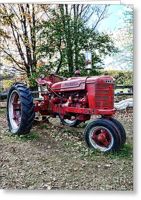 Harvest Time Photographs Greeting Cards - Red Tractor 1 Greeting Card by Paul Ward