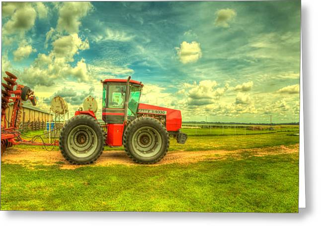 Hdr Landscape Photographs Greeting Cards - Red tractor farm Greeting Card by  Caleb McGinn