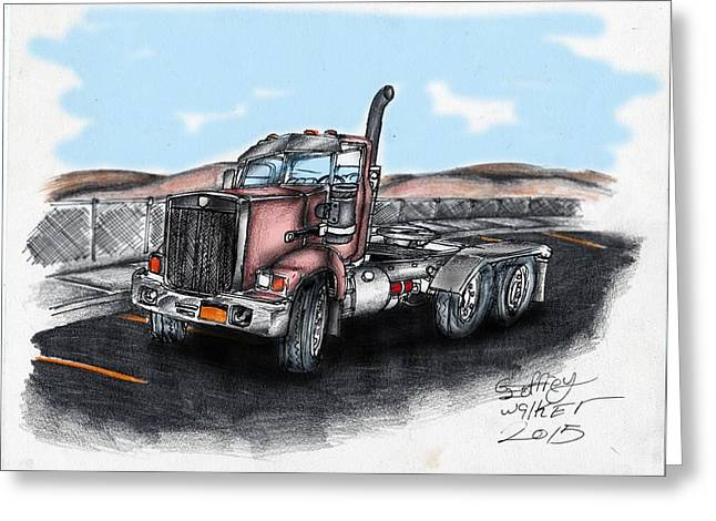 Sand Fences Mixed Media Greeting Cards - Red Tractor Greeting Card by Geoffrey Walker