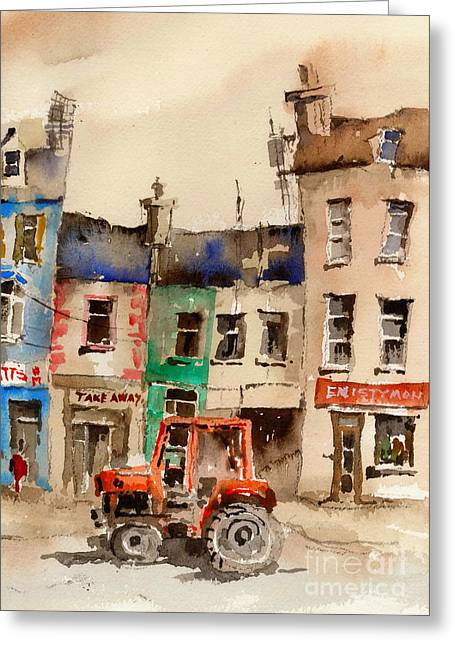 Ennistymon Greeting Card featuring the painting Red Tractor In Ennistymon Clare by Val Byrne