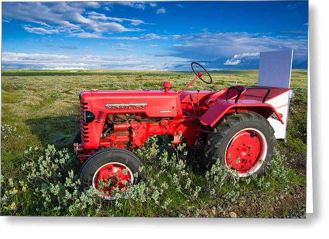 Red Tractors Greeting Cards - Red Tractor in Iceland Greeting Card by Matthias Hauser