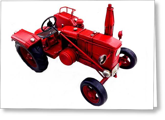 Charlotte Digital Art Greeting Cards - Red Tractor Greeting Card by Morgan Carter