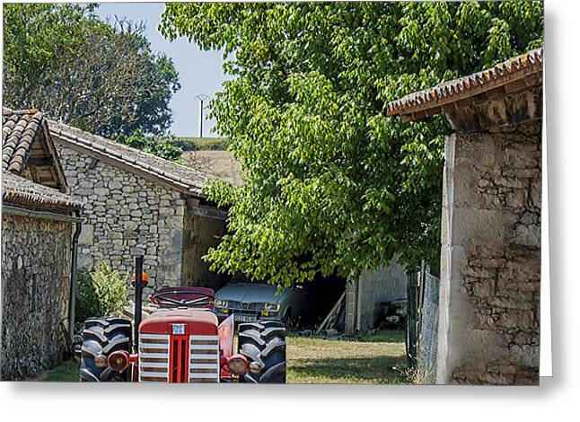 Red Tractor on a French Farm Greeting Card by Nomad Art And  Design
