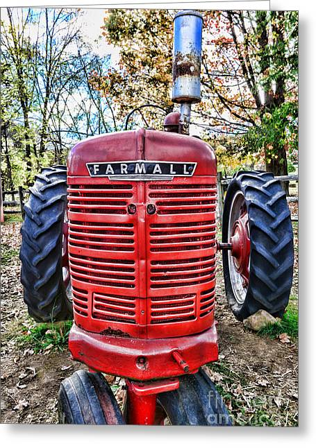 Harvest Time Photographs Greeting Cards - Red Tractor Greeting Card by Paul Ward