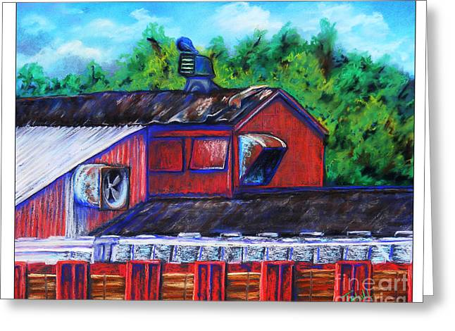 Red Buildings Pastels Greeting Cards - Red Train Depot Greeting Card by Janet Hull