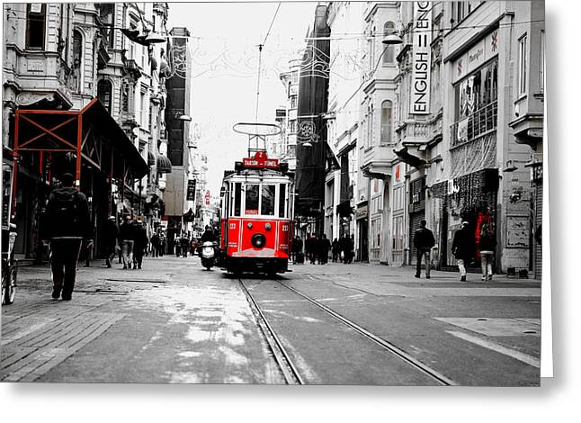 Istanbul Greeting Cards - Red Tram in Istanbul Greeting Card by Mountain Dreams