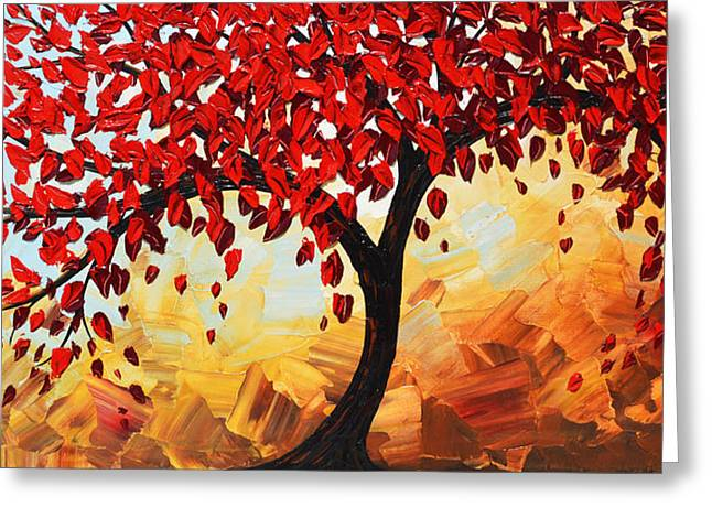 Artist Christine Krainock Greeting Cards - Red Tree of Life Greeting Card by Christine Krainock