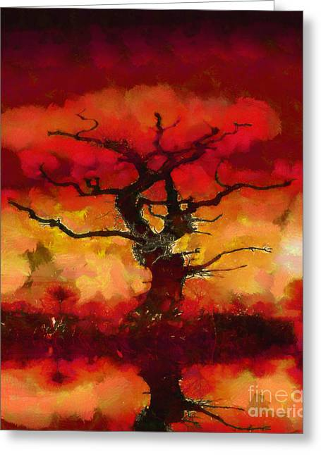 Warm Greeting Cards - Red tree of life Greeting Card by Pixel Chimp