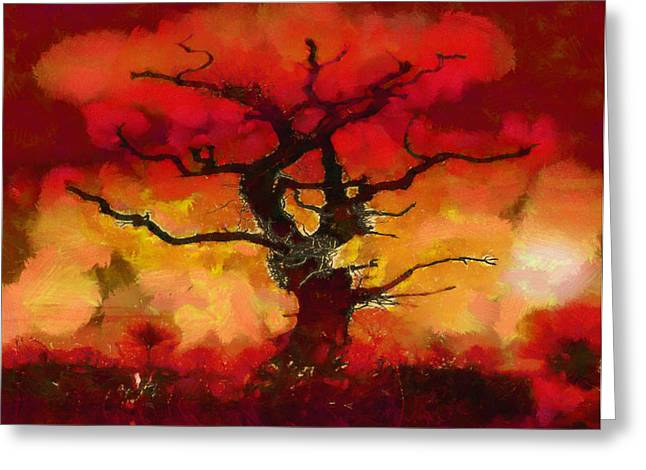 Red tree of life Greeting Card by Pixel Chimp