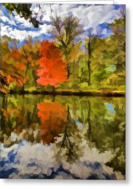 Dï¿¿r Greeting Cards - Red Tree on the Canal  Greeting Card by David Letts