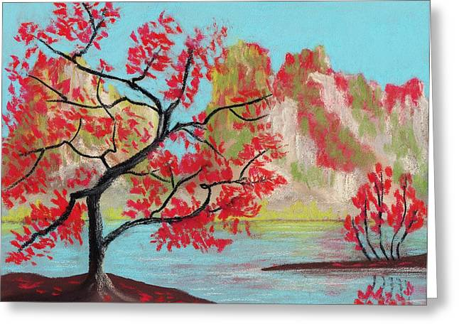 Surreal Landscape Pastels Greeting Cards - Red Trees Greeting Card by Anastasiya Malakhova
