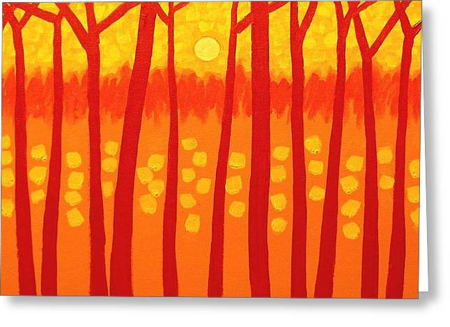Dot Greeting Cards - Red Trees Greeting Card by John  Nolan