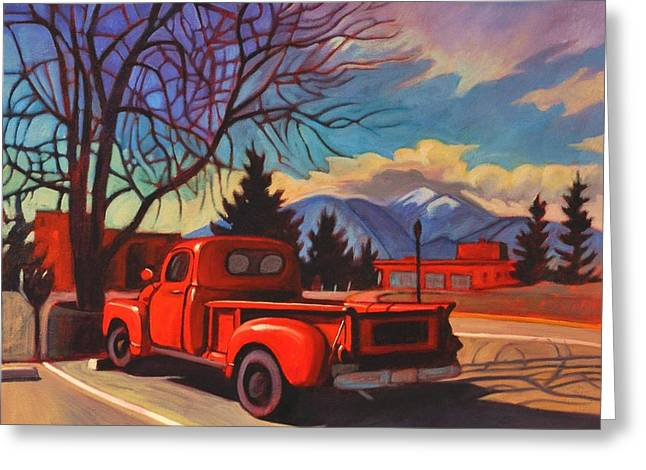 Classic Pickup Paintings Greeting Cards - Red Truck Greeting Card by Art James West