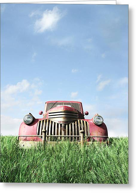 Chevy Pickup Greeting Cards - Red Truck Greeting Card by Cynthia Decker
