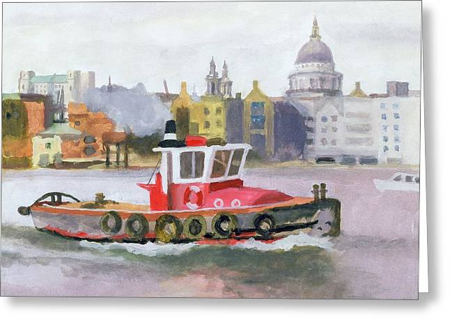 River Thames Greeting Cards - Red Tug Passing St. Pauls, 1996 Greeting Card by Terry Scales