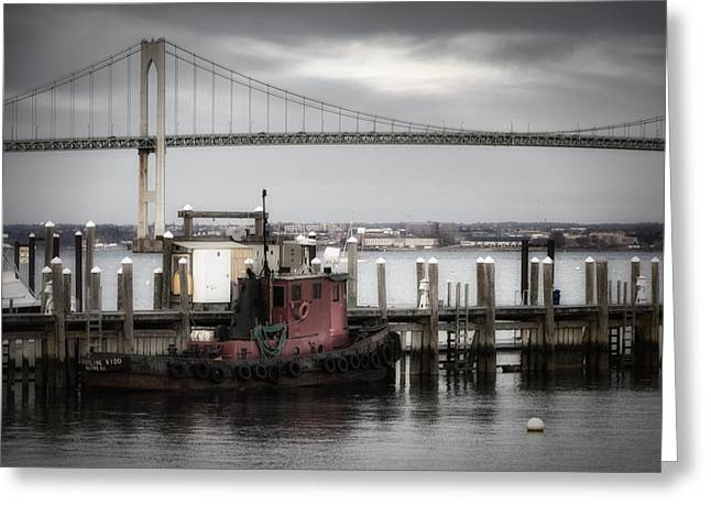 Steel Pier Greeting Cards - Red Tugboat and Newport Bridge II Greeting Card by Joan Carroll