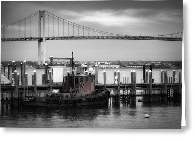 Docked Boat Greeting Cards - Red Tugboat and Newport Bridge Greeting Card by Joan Carroll