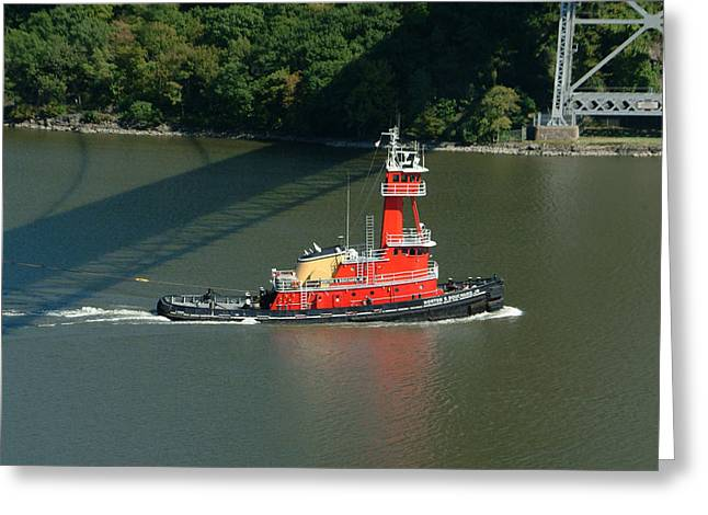 Hudson River Tugboat Greeting Cards - Red Tugboat Greeting Card by Phyllis Tarlow