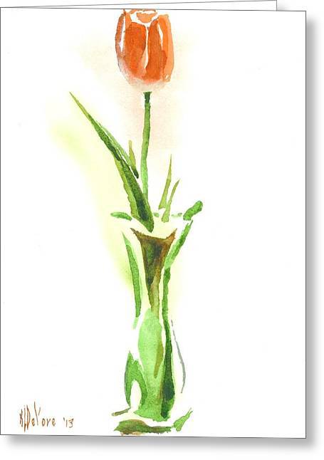 Love Poetry Greeting Cards - Red Tulip in a Green Vase Greeting Card by Kip DeVore