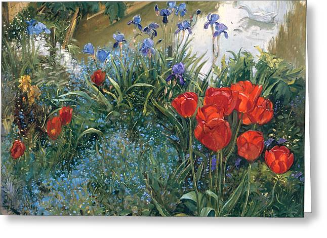 Geese Paintings Greeting Cards - Red Tulips and Geese  Greeting Card by Timothy Easton
