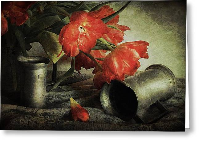 Photographs With Red. Greeting Cards - Red tulips and tin jars Greeting Card by Hugo Bussen