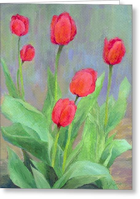 Red Tulips Colorful Painting Of Flowers By K. Joann Russell Greeting Card by K Joann Russell