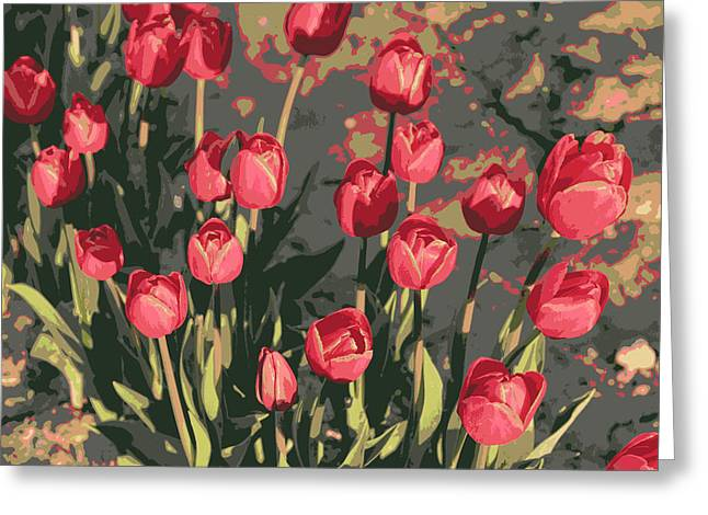 Gray And Red Greeting Cards - Red Tulips - Digital Art Greeting Card by Carol Groenen