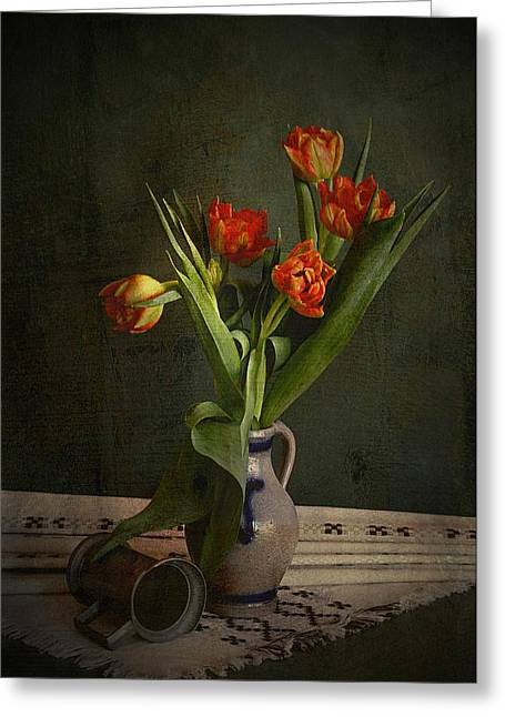 Photographs With Red. Greeting Cards - Red tulips in vase with tin jar. Greeting Card by Hugo Bussen