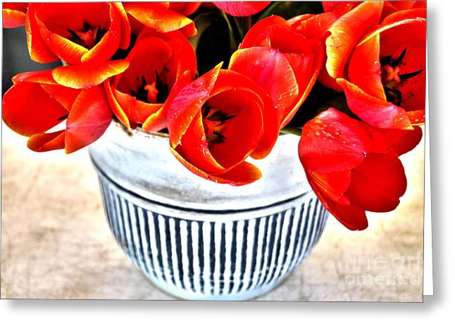 Mothers Day Greeting Cards - Red Tulips in Vintage Vase Greeting Card by Sabine Jacobs