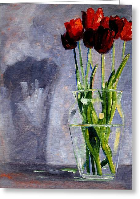 Glass Vase Greeting Cards - Red Tulips Greeting Card by Nancy Merkle