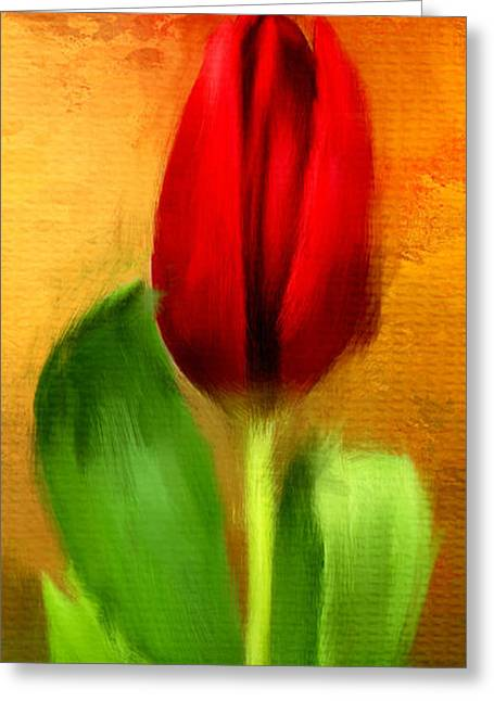 Spring Bulbs Greeting Cards - Red Tulips Triptych Section 1 Greeting Card by Lourry Legarde