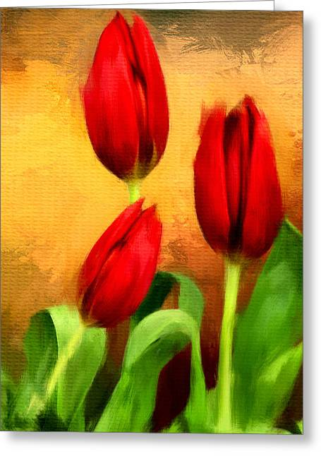 Spring Bulbs Greeting Cards - Red Tulips Triptych Section 2 Greeting Card by Lourry Legarde