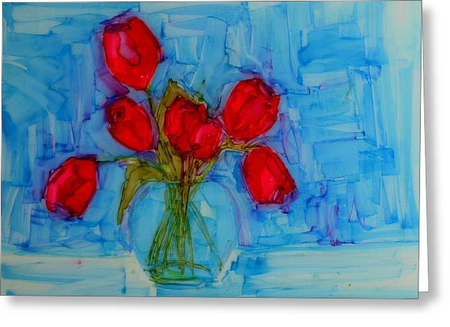 Fineartamerica Greeting Cards - Red Tulips with blue background Greeting Card by Patricia Awapara