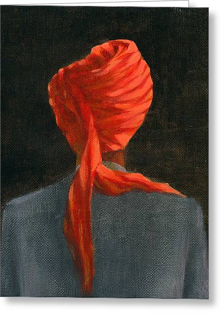 Headdress Greeting Cards - Red Turban, 2004 Acrylic On Canvas Greeting Card by Lincoln Seligman
