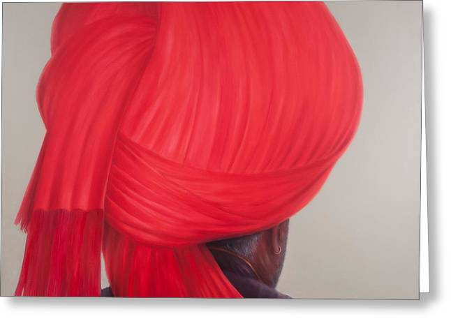 Turbans Greeting Cards - Red Turban, 2012 Acrylic On Canvas Greeting Card by Lincoln Seligman