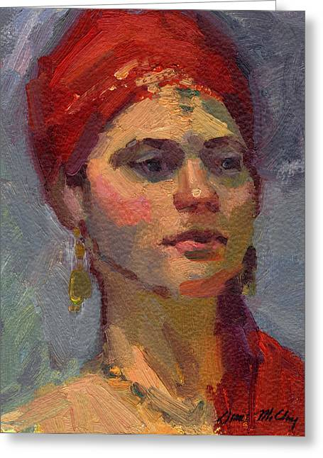 Gypsy Greeting Cards - Red Turban Greeting Card by Diane McClary